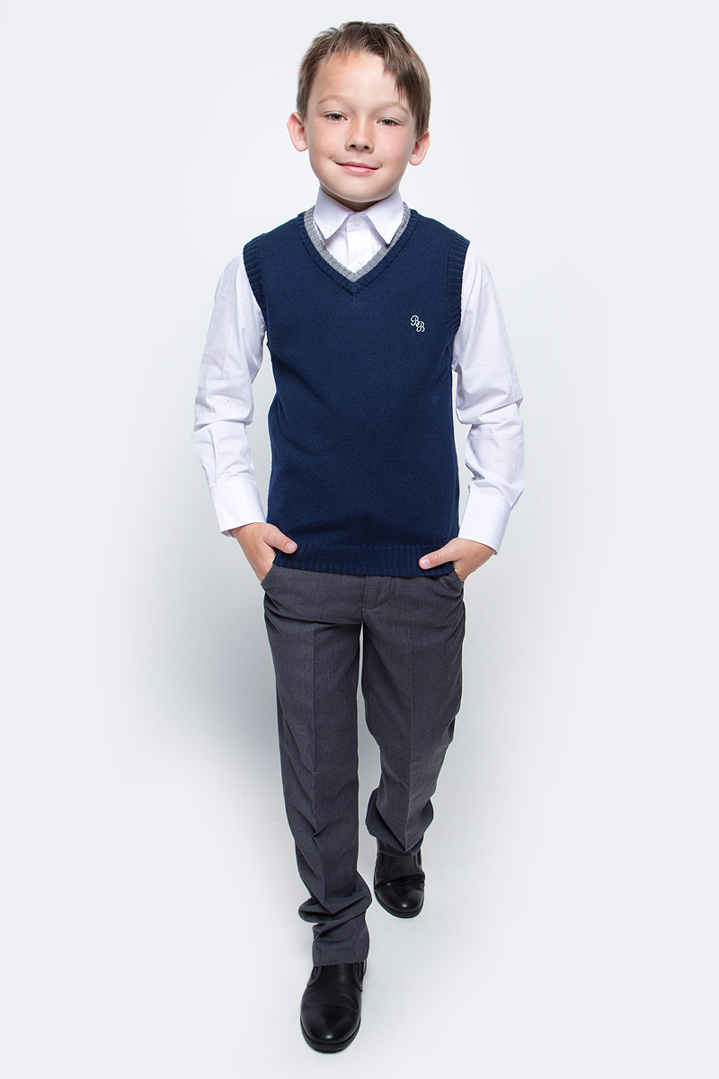 Жилет для мальчика Button Blue, цвет: синий. 215BBBS3002. Размер 164, 14 лет сарафан для девочки button blue цвет серый 215bbgs5004 размер 164 14 лет
