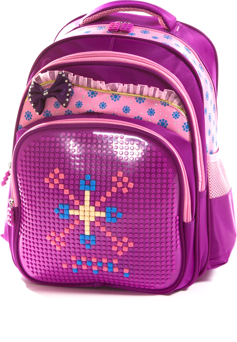 Vittorio Richi Рюкзак цвет фиолетовый розовый K07R163809K07R163809Рюкзак Vittorio Richi с набором пикселей в комплекте выполнен из водоотталкивающей и износостойкой ткани.Рюкзак имеет укрепленную спинку, эластичные широкие лямки.Изделие имеет два основных отделения на застежках-молниях, дополнительный внешний карман на молнии и два открытых кармашка по бокам. Внутри рюкзака находится дополнительный карман для мелочей.