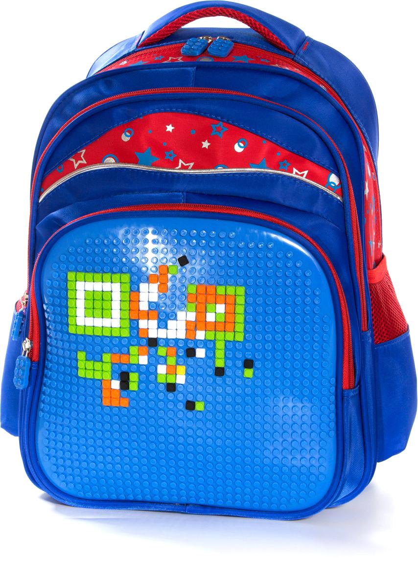 Vittorio Richi Рюкзак цвет синий красный K07R166904K07R166904Рюкзак Vittorio Richi с набором пикселей в комплекте выполнен из водоотталкивающей и износостойкой ткани.Рюкзак имеет укрепленную спинку, эластичные широкие лямки. Изделие имеет два основных отделения на застежках-молниях. На лицевой стороне рюкзака располагается вместительный карман на молнии, два открытых кармашка находятся по бокам. Внутри изделия находится дополнительный карман для мелочей.