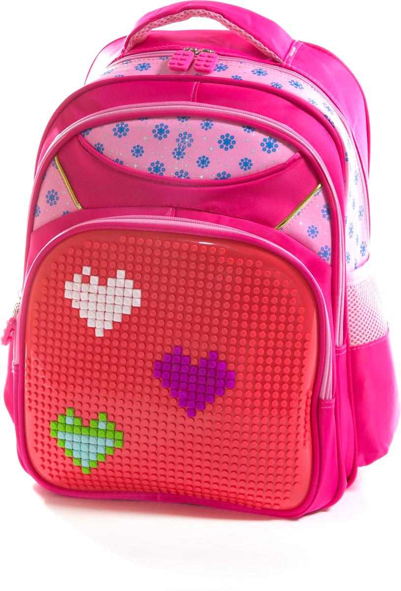 Vittorio Richi Рюкзак цвет красный розовый K07R169802K07R169802Рюкзак Vittorio Richi с набором пикселей в комплекте выполнен из водоотталкивающей и износостойкой ткани.Рюкзак имеет укрепленную спинку, эластичные широкие лямки. Рюкзак содержит два основных отделения на застежках-молниях, дополнительный внешний карман на молнии и два открытых кармашка по бокам. Внутри изделия находится дополнительный карман для мелочей.