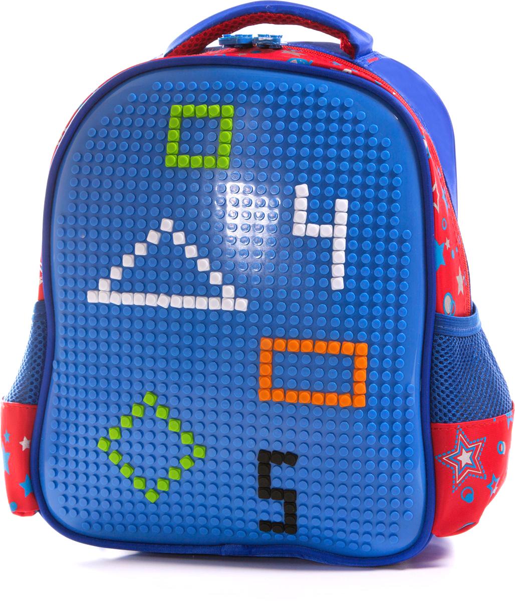 Vittorio Richi Рюкзак цвет синий красный K07R88804K07R88804Рюкзак Vittorio Richi с набором пикселей в комплекте выполнен из водоотталкивающей и износостойкой ткани.Рюкзак имеет укрепленную спинку, эластичные широкие лямки.Изделие имеет одно основное отделение на застежке-молнии и два открытых кармашка по бокам. Внутри рюкзака находится дополнительный карман для мелочей.