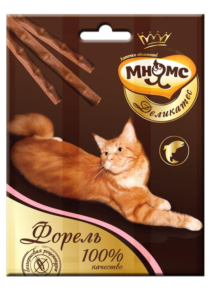 Лакомство Мнямс Деликатес лакомые палочки, 9 см, для кошек, с форелью, 4 г, 3 шт703058Лакомство Мнямс Деликатес лакомые палочки - изысканное лакомое угощение из великолепной коллекции вкусов Мнямс Деликатес не оставит равнодушной вашу кошку и подарит ей незабываемое удовольствие.Особенности: - Свежайшие ингредиенты,- Высокое содержание натуральных рыбных деликатесов,- Индивидуальная упаковка.
