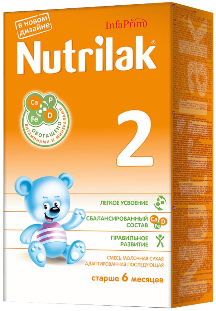 Nutrilak 2 смесь молочная с 6 месяцев, 350 г4445/8806Смесь молочная сухая адаптированная последующая для смешанного и искусственного вскармливания детей. ОСОБЕННОСТИ СОСТАВА: высококачественный молочный белок; полиненасыщенные жирные кислоты; витамины, макро- и микроэлементы; кальций и витамин D; железо и цинк; антиоксидантный комплекс.