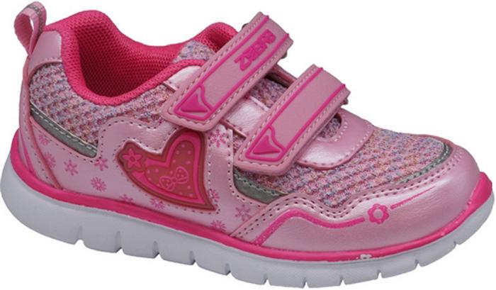 Кроссовки для девочки Зебра, цвет: розовый. 11897-9. Размер 2711897-9Кроссовки для девочки Зебра выполнены из искусственной кожи и дышащего текстиля. Застежки-липучки обеспечивают надежную фиксацию обуви на ноге ребенка. Подкладка выполнена из текстиля, что предотвращает натирание и гарантирует уют. Стелька с поверхностью из натуральной кожи оснащена небольшим супинатором с перфорацией, который обеспечивает правильное положение ноги ребенка при ходьбе и предотвращает плоскостопие. Подошва с рифлением обеспечивает идеальное сцепление с любыми поверхностями.