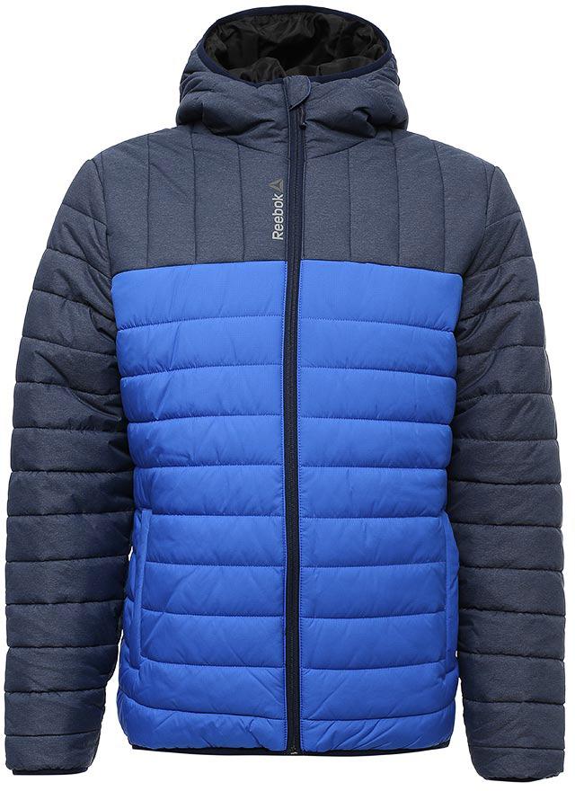Куртка мужская Reebok Od Pad Jckt, цвет: синий, голубой. S96417. Размер L (52/54)S96417Мужская стеганая куртка Reebok выполнена из полиэстера. В качестве подкладки и утеплителя используется полиэстер. Модель с несъемным капюшоном застегивается на застежку-молнию. Рукава имеют эластичные манжеты. Спереди расположено два прорезных кармана. Куртка дополнена светотражающими элементами.