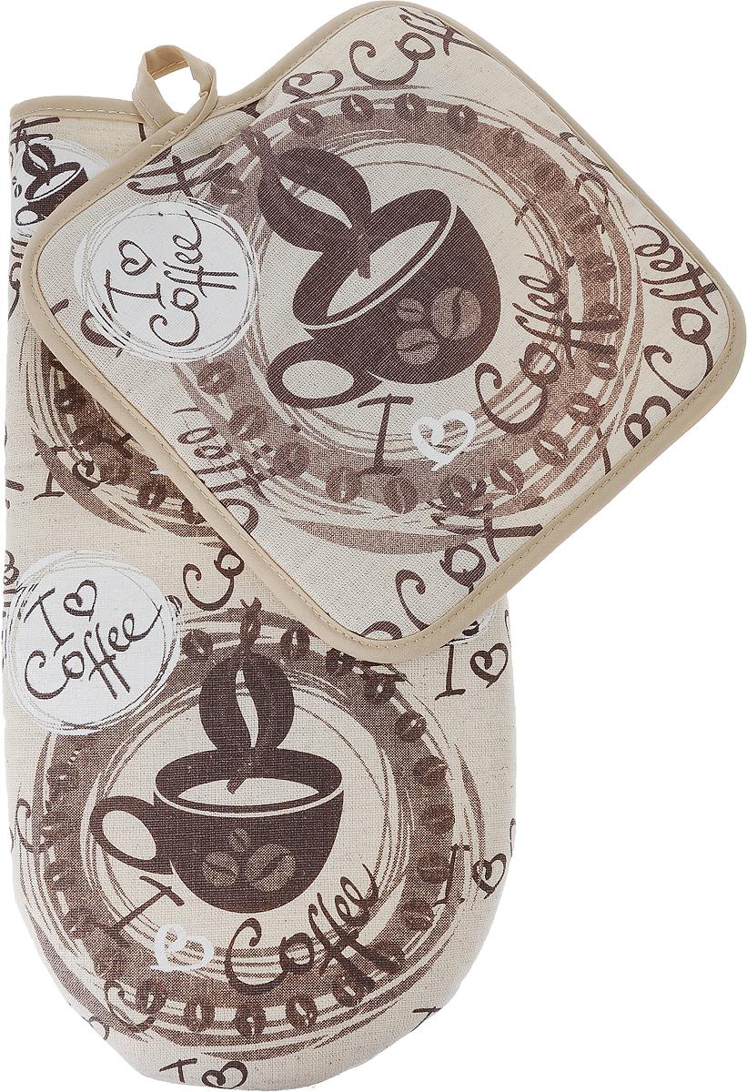Набор кухонный От Шефа Кофе, варежка 27 см, прихватка 18 х 18 см627-001_кофеНабор кухонный От Шефа, выполненный из высококачестенного текстиля, состоит из прихватки и перчатки. Изделия оформлены оригинальным рисунком. Прихватка и плотная варежка помогут справиться с любой горячей посудой и сберегут ваши руки от ожогов. Размеры варежки: 27 х 14,5 х 2,5 см Размеры прихватки: 18 х 18 см