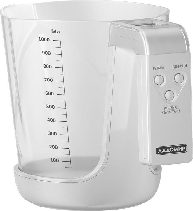 Ладомир НА301 весы кухонныеНА301Сколько вешать в граммах? С кухонными весами Ладомир НА301 вы точно будете уверены, что соблюдаете все пропорции, указанные в рецепте. Весы умеют измерять в граммах, миллилитрах, жидких унциях и американских чашках (CUP).Чаша изготовлена из прочного пищевого пластика - легко моется, удобно инсталлируется на корпус весов. Благодаря интуитивно понятному интерфейсу и широкому дисплею работать с весами НА301 невероятно удобно. Функция тарокомпенсации позволит взвешивать продукты последовательно, а точность измерения не даст ошибиться ни на грамм.