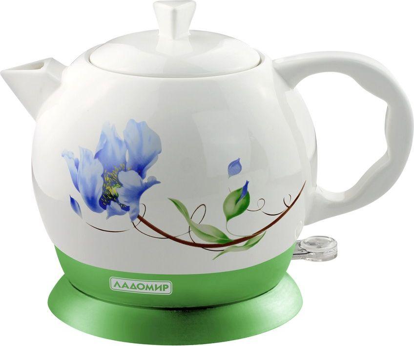 Ладомир 144 чайник электрический144Керамический чайник Ладомир 144 с ярким весенним дизайном - отличный помощник и украшение на кухне.Чайник обладает эргономичным корпусом, изготовленным из керамики. Особые свойства материала позволяют сохранять первозданный вкус воды после кипячения.Чайник оснащен технологией автовыключения после закипания, а также имеется подсветка кнопки включения. Скрытый высокоэффективный нагревательный элемент быстро нагревает воду.