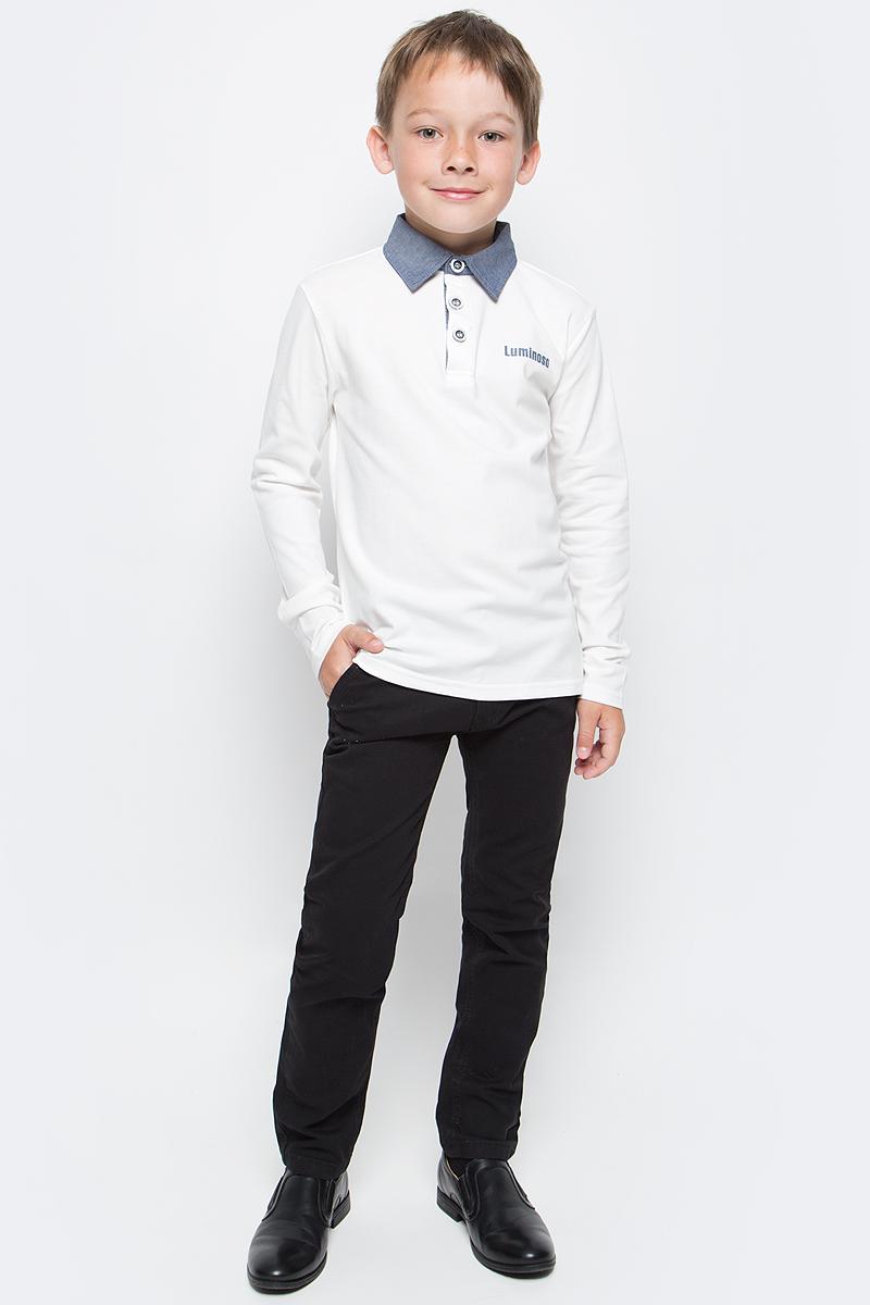 Джемпер для мальчика Luminoso, цвет: белый, голубой. 727043. Размер 146727043Джемпер для мальчика Luminoso выполнен из хлопка с добавлением эластана. Модель имеет длинные рукава и отложной воротник с планкой на пуговицах.