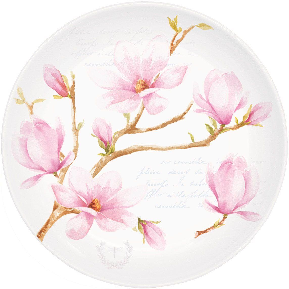 Тарелка десертная Nuova R2S Розовая магнолия, в подарочной упаковке, диаметр 19 см324MAGNДесертная тарелка Розовая магнолия выполнена из фарфора. Изделие прекрасно подойдет в дополнение к кружке, коллекции или как самостоятельный предмет посуды.Диаметр: 19 см.