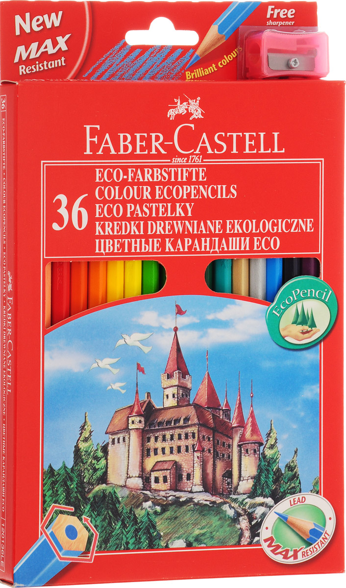 Faber-Castell Набор цветных карандашей Замок с точилкой 36 цветовDV-ACP105-18В наборе Faber-Castell 36 цветных шестигранных карандашей, не требующих сильного нажатия. Карандаши обладают яркими цветами, безопасны при использовании по назначению, легко затачиваются,изготовлены из высококачественной древесины, имеют прочный грифель.Набор карандашей откроет юным художникам новые горизонты для творчества, поможет отлично развить мелкую моторику рук,цветовое восприятие, фантазию и воображение.Корпус изготовлен из натуральной древесины, гладкость которой обеспечена многослойной покраской. Карандаши удобно держать в руках, а мягкийгрифель не требует сильного нажима и легко стирается ластиком.Вместе с карандашами в наборе имеется точилка из прочного пластика с рифленой областью захвата. Острое стальное лезвие обеспечивает высококачественную и точную заточку деревянных карандашей.В комплект входят 36 цветных карандашей, точилка.