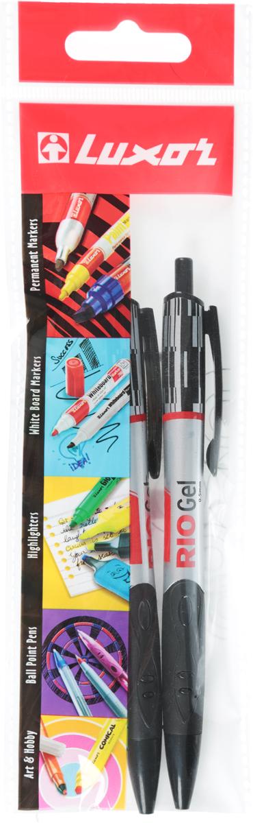Luxor Набор гелевых ручек Rio Gel Pen цвет чернил черный 2 шт7821/2BCНабор гелевых ручек Luxor Rio Gel Pen состоит из двух ручек с черными чернилами. Они отлично подойдут и для школьных занятий, и для ежедневных записейКорпусы с удобными клипами изготовлены из качественного прозрачного пластика. Чернила на водной основе легко смываются с кожи и отстирываются с большинства тканей.Удобный набор гелевых ручек станет незаменимой канцелярской принадлежностью для вас или для вашего ребенка.