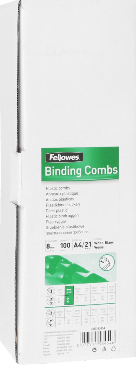 Fellowes FS-53454, White пружина для переплета, 8 мм (100 шт)FS-53454Fellowes FS-53454 - пластиковая пружина для переплета. Обладает высокой упругостью на разжим, надежно удерживает листы в переплете. Возможно многократное использование. Предназначена для переплета всех видов документов.