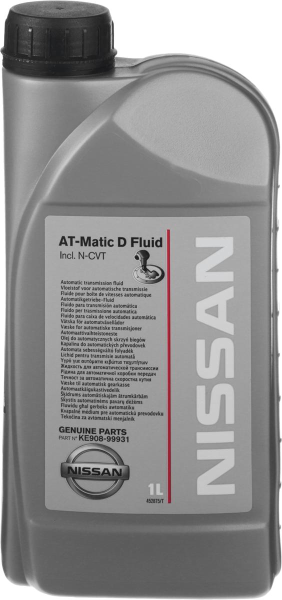 Масло трансмиссионное Nissan At-Matic D Fluid, синтетическое, для АКПП Nissan, 1 лKE908-99931Трансмиссионное масло Nissan At-Matic D Fluid - жидкость для автоматической трансмиссии и N-CVT марки Nissan, разработанная и утвержденная для автомобилей Nissan. Масло не подходит для использования в коробках передач CVT, для которых рекомендуется NS-1, NS-2.Товар сертифицирован.