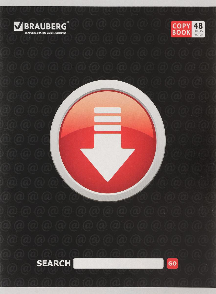 Brauberg Тетрадь Online 48 листов в клетку цвет черный401815_стрелка/черныйТетрадь Brauberg Online подойдет как школьнику, так и студенту. Обложка тетради выполнена из плотного картона, что позволит сохранить ее в аккуратном состоянии на протяжении всего времени использования.Внутренний блок тетради, соединенный двумя металлическими скрепками, состоит из 48 листов белой бумаги. Стандартная линовка в клетку голубого цвета дополнена полями.