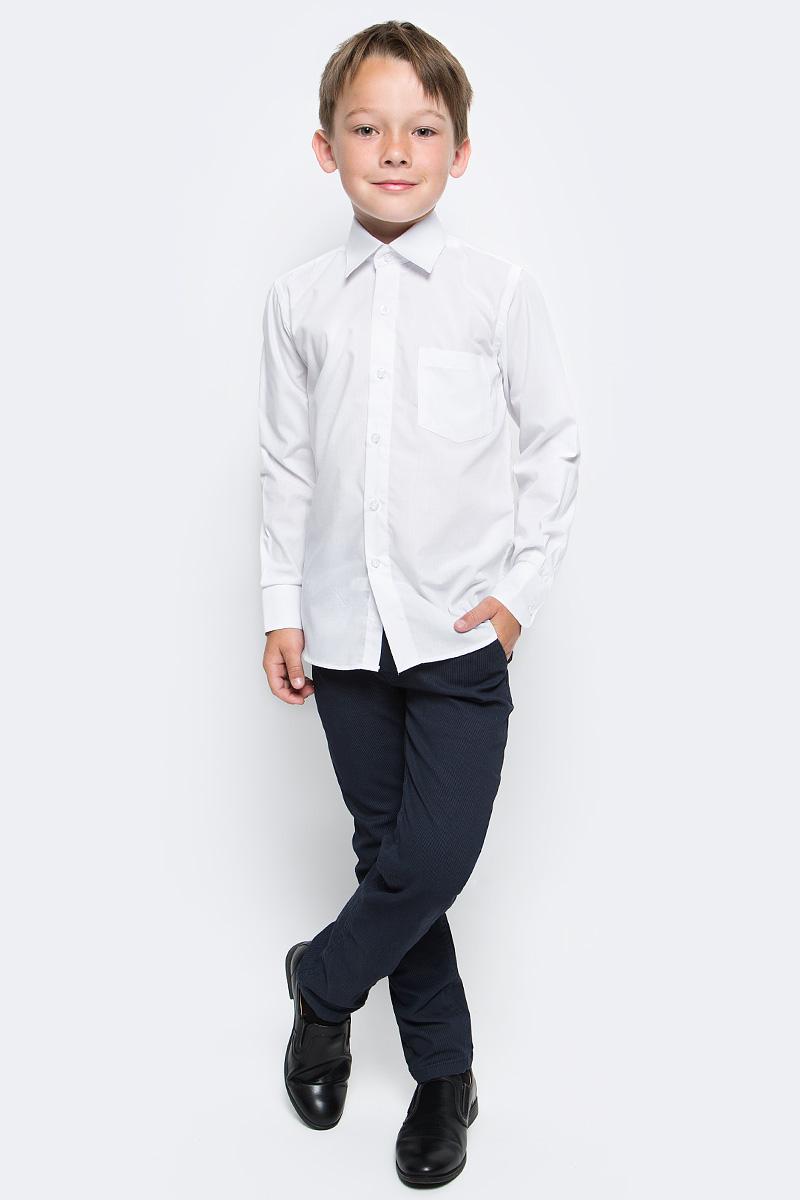 Рубашка для мальчика Nota Bene, цвет: белый. TC2DB01. Размер 152TC2DA01/TC2DB01Рубашка для мальчика Nota Bene выполнена из высококачественного хлопкового материала. Модель с классическим отложным воротником и длинными рукавами застегивается на пуговицы, на груди дополнена накладным карманом.