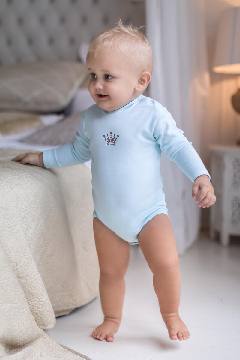 Боди для мальчика Мамуляндия Маленький принц, цвет: голубой. 17-307. Размер 80