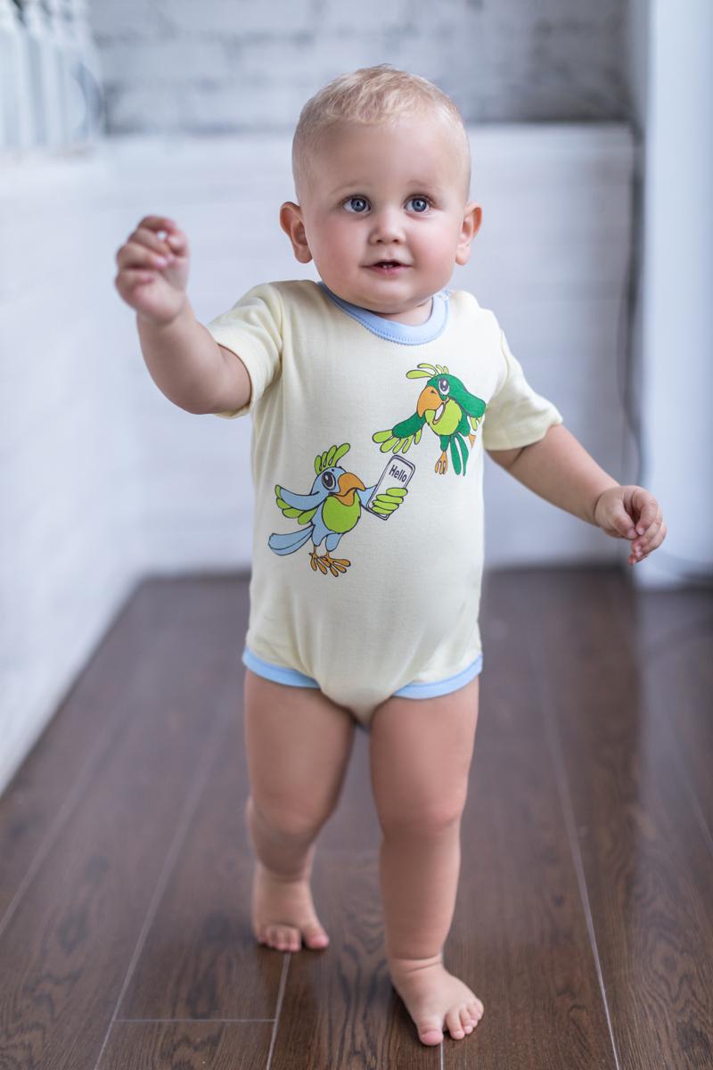Фото Боди для мальчика Мамуляндия Мультяшки-Мальчики, цвет: желтый. 17-706. Размер 74