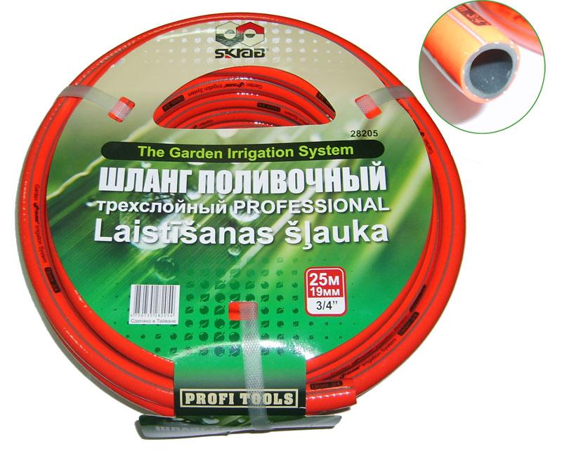 Шланг поливочный Skrab, 3/4, длина 25 м, 14 bar, цвет: красный. 2820528205Трехслойный поливочный шланг, изготовленный из ПВХ, применяется для поливочных работ на приусадебном участке. Имеет сетчатое армирование полиамидной нитью, за счет чего является прочным и гибким. Устойчив к воздействиям окружающей среды и образованию водорослей на внутреннем слое. Отсутствие в составе токсичных веществ обеспечивает безопасность для окружающей среды и человека. Имеет длительный срок эксплуатации, не обесцвечивается и не теряет форму со временем. Температура использования шланга -20°C до +65°C. Рабочее давление: 20 бар.