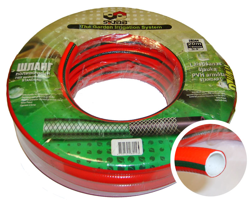 Шланг поливочный Skrab, 3/4, длина 25 м, 15 bar. 2824528245Поливочный шланг, изготовленный из ПВХ, применяется для поливочных работ на приусадебном участке. Имеет сетчатое армирование полиамидной нитью, за счет чего является прочным и гибким. Устойчив к воздействиям окружающей среды и образованию водорослей на внутреннем слое. Отсутствие в составе токсичных веществ обеспечивает безопасность для окружающей среды и человека. Имеет длительный срок эксплуатации, не обесцвечивается и не теряет форму со временем. Температура использования шланга -0°C до +50°C. Рабочее давление: 15 бар.