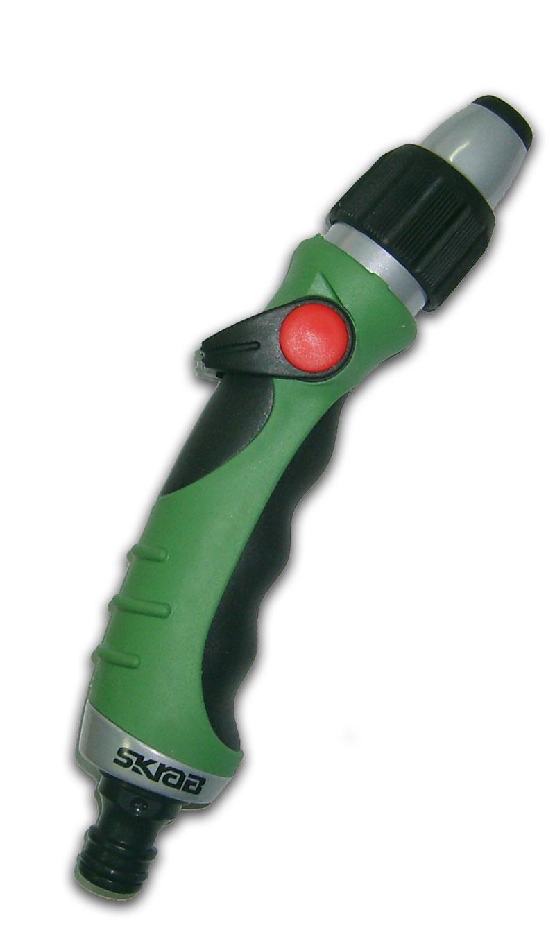 Пистолет-наконечник Skrab, регулируемый. 2828128281Пистолет-наконечник для полива с плавной регулировкой полива.Металлический корпус пистолета отделан элементами из мягкой термопластичной резины, для удобства работы и защиты от удара. Оснащён штуцером для быстросъёмной муфты.