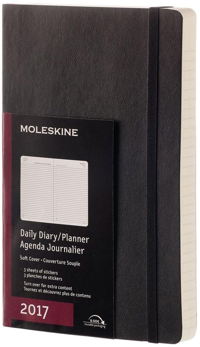 Moleskine Ежедневник Classic Soft Large 200 листов в линейку цвет черныйDSB12DC3Ежедневник Moleskine датирован с января по декабрь. Данный формат предусматривает отдельную страницу для каждого дня. Для популярного планировщика задач на каждый день года используется полный спектр цветовых решений. Твердая и мягкая обложка, благодаря которой удобно писать даже без наличия твердой поверхности. Скругленные углы. Эластичная застежка. Фирменная бумага Moleskine цвета слоновой кости. Полезная информация: планирование, часовые пояса, международные меры, телефонные коды и продолжительность полетов. Складывающийся карман на внутренней стороне обложки в цвет записной книжки. Этикетка В случае потери на форзаце. Лента-закладка в тон.