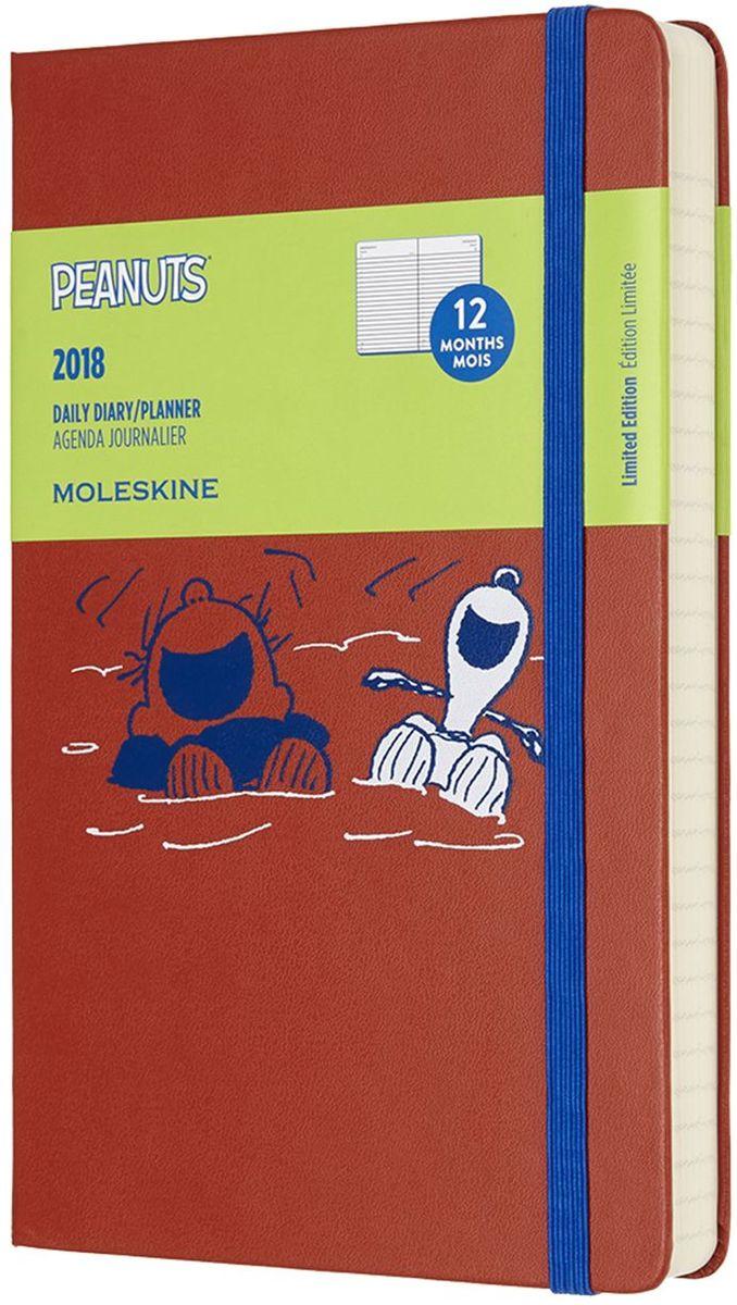 Moleskine Ежедневник Peanuts Large 200 листов в линейку цвет оранжевыйDPE12DC3Ежедневник Moleskine, посвященный 60-летию легендарного комикса.Ежедневник сделан из приятной ткани, излучает жизнерадостность и ребячество.Сзади кармашек для мелочей. В начале несколько листов с полезной информацией: календарем, картой часовых поясов, справочным материалом для путешественников и линейкой. На внутренней каемке также есть скетчи с главными героями.
