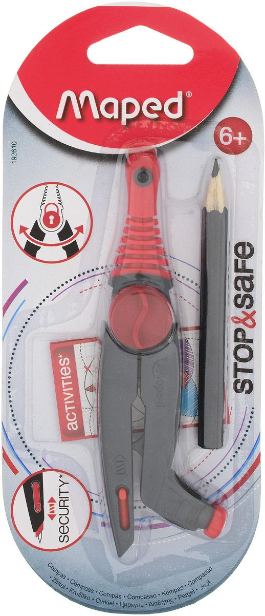 Maped Циркуль Stop&Safe цвет красный192610_красный, черныйЦиркуль Maped Stop&Safe с запатентованной системой фиксации штанг. Оснащен безопасной иглой, пластиковыми штангами и держателем для карандаша.В комплекте с циркулем поставляется чернографитный карандаш.