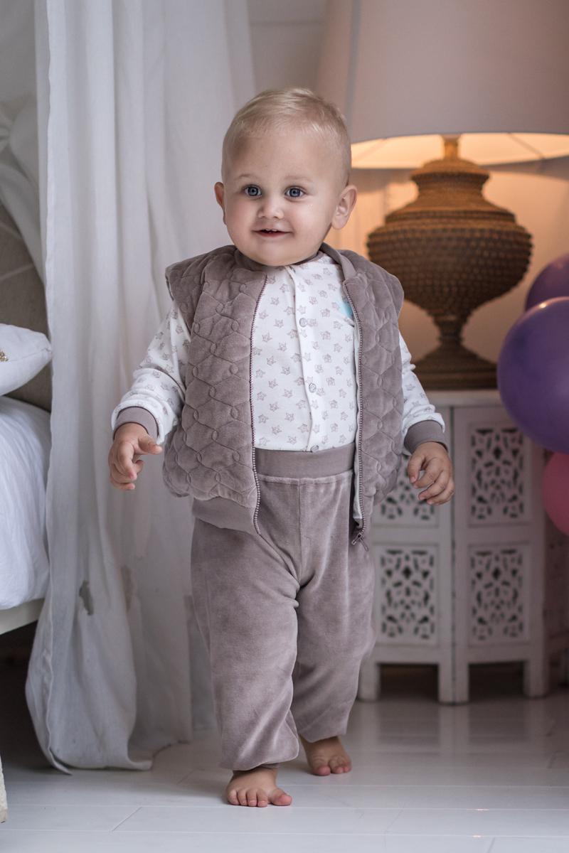 Штанишки для мальчика Мамуляндия Маленький принц, цвет: серо-коричневый. 17-310. Размер 74