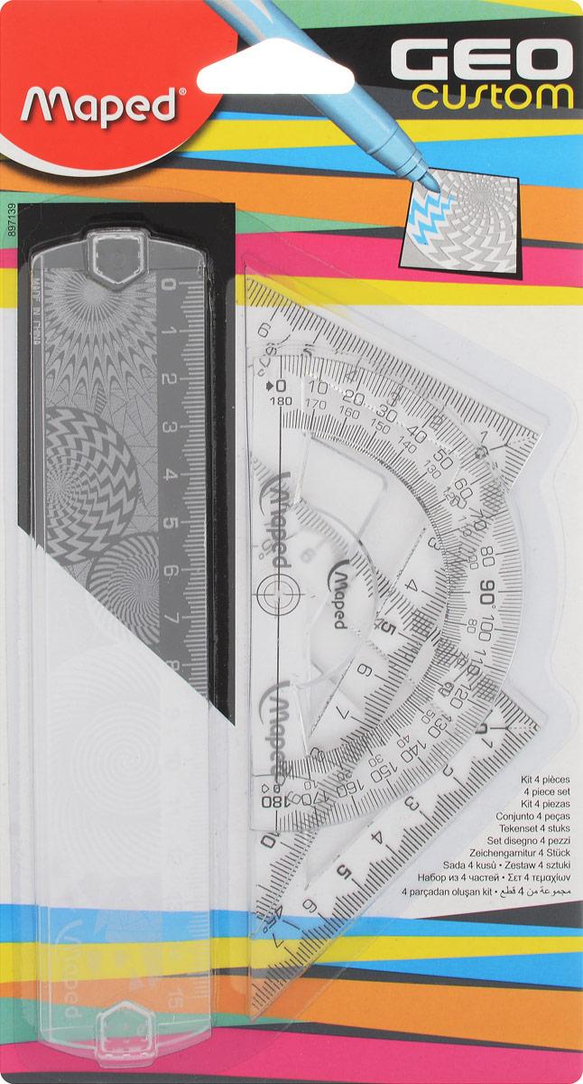 Maped Геометрический набор Start 4 предмета цвет прозрачный897139_прозрачныйГеометрический набор Maped, выполненный из цветного прозрачного пластика, состоит из четырех предметов: линейки на 15 сантиметров, транспортира на 180 градусов и 2 угольников. Один угольник с углом 45 градусов, второй угольник - 60 градусов. Нулевая отметка расположена в вершине угольников, что позволяет измерять и чертить одновременно.Шкала выполнена гравировкой.