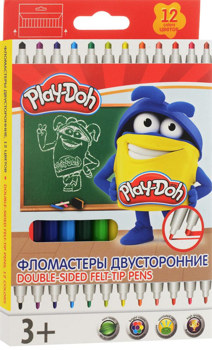 Play-Doh Набор двусторонних фломастеров 12 цветовPDEB-US2-10MB-12Набор двусторонних фломастеров Play-Doh с наконечниками разной толщины, предназначенный специально для рисования и закрашивания, обязательно порадует юных художников и поможет им создать яркие и неповторимые картинки. Корпус фломастеров изготовлен из высококачественного нетоксичного пластика, а вентилируемый колпачок увеличивает срок службы чернил и предотвращает их преждевременное высыхание.А благодаря нейлоновому стержню, увеличенному содержанию чернил и улучшенному пишущему узлу фломастеры прослужат еще дольше! Набор включает в себя 12 фломастеров ярких насыщенных цветов.