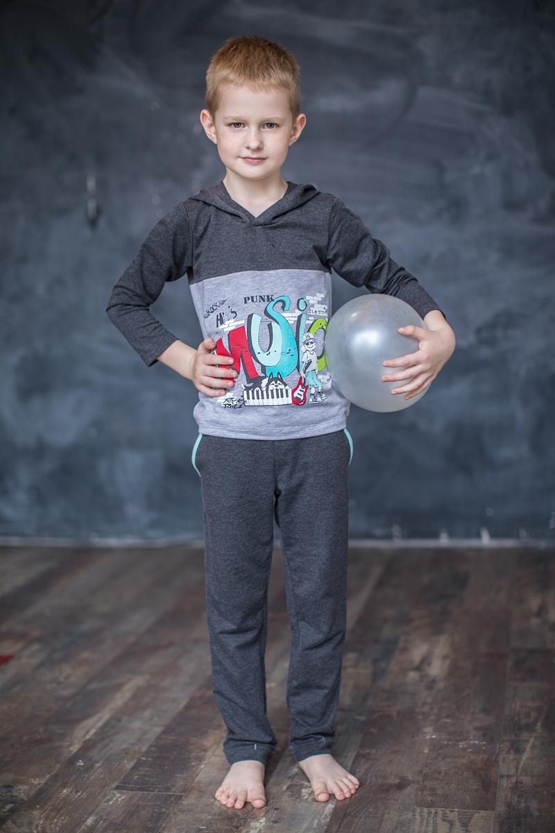 Толстовка для мальчика Мамуляндия Music, цвет: серый. 17-0307. Размер 11017-0307Толстовка для мальчика Мамуляндия Music выполнена из трикотажного полотна высшего качества (футер). Модель с капюшоном и длинным рукавом декорирована принтом на водной основе.