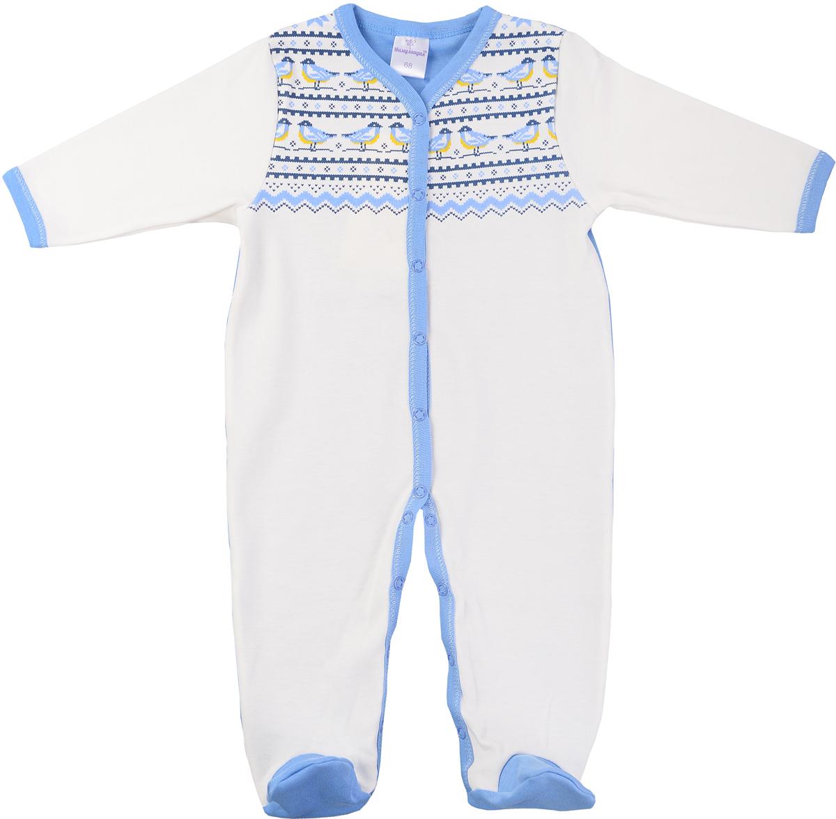Комбинезон домашний детский Мамуляндия Зимняя, цвет: молочный, голубой. 17-502. Размер 6217-502Комбинезон детский выполнен из натурального хлопка. Модель с длинными рукавами и V-образным вырезом горловины застегивается на кнопки.