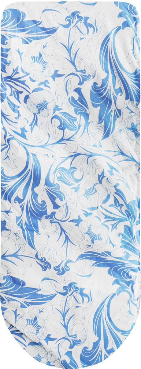 Чехол для гладильной доски Eva, с поролоном, на резинке, цвет: белый, голубой, 119 х 37 см чехол для рукава гладильной доски leifheit цвет голубой 52 х 12 см