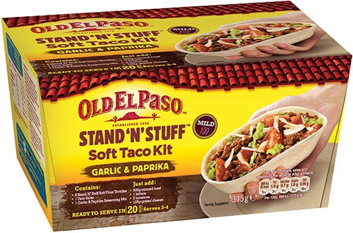 Old El Paso набор для приготовления тако оригинальный с мягкими пшеничными тортилья-лодочками, 348 г4190247Мексиканская кухня, кухни мира, фаст фуд, легкое приготовление.Упаковано в защитной атмосфере. Пищевая ценность продукта в 100 г: жиры -1,3 г (в т.ч. насыщенные жирные кислоты 0,2 г); углеводы - 67,2 г (в т.ч. сахара 60,0 г); клетчатка - 3,5 г; белки -6,3 г; соль -17,75 г.