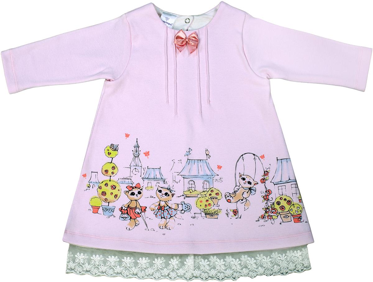 Платье для девочки Мамуляндия Мультяшки-Девочки, цвет: розовый. 17-606. Размер 8617-606Платье для девочки Мамуляндия Мультяшки-Девочки выполнено из натурального хлопка. Модель с круглым вырезом горловины и длинными рукавами застегивается на кнопки.
