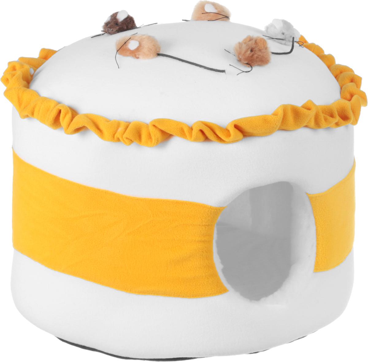 Домик для животных Зооник Тортик с мышками, цвет: белый, желтый, 43 х 43 х 30 см22148_белый, желтыйДомик для животных Зооник Тортик с мышками, выполненный из флиса и искусственного меха, декорирован непревзойденным дизайном и предназначен для кошек и мелких собак. Он очень удобен и вместителен. Домик оснащен мягкой подушкой. Изделие гармонично украсит интерьер, подчеркнет вашу индивидуальность и будет радовать вас и вашего питомца.