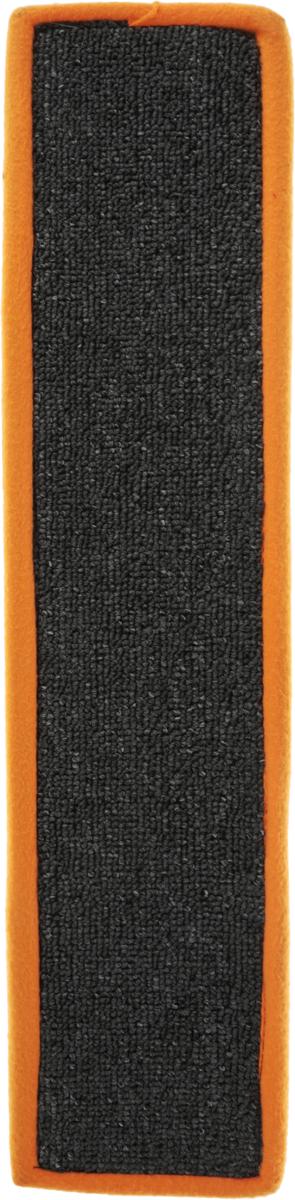 Когтеточка Грызлик Ам, с пропиткой, цвет: оранжевый, серый, 55 х 11 см40.GR.079_оранжевый, серыйКогтеточка Грызлик Ам предназначена для стачивания когтей вашей кошки и предотвращения их врастания. Изделие выполнено из ДВП и ковролина, края отделаны искусственным мехом. Изделие снабжено специальными отверстиями для крепления. Ковролин обеспечивает естественный уход за когтями питомца. Специальная пропитка привлекает внимание кошки, что позволяет сохранить неповрежденными мебель и другие предметы интерьера. Прямая когтеточка идеально подходит для крепления на стену.