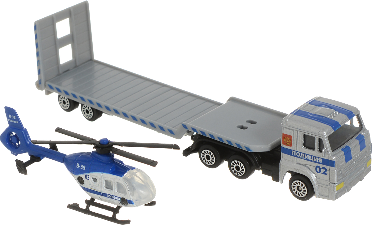 ТехноПарк Автотранспортер КамАЗ с вертолетом Полиция технопарк вертолет