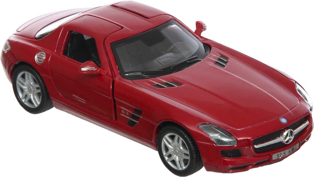 Фото Kinsmart Модель автомобиля Mercedes-Benz SLS AMG цвет красный