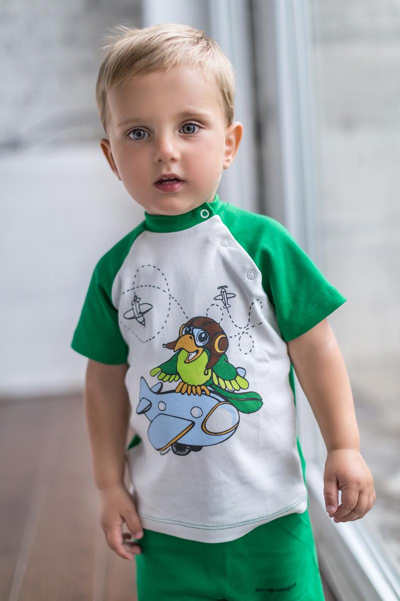 Футболка для мальчика Мамуляндия Мультяшки-Мальчики, цвет: молочный, зеленый. 17-703. Размер 86