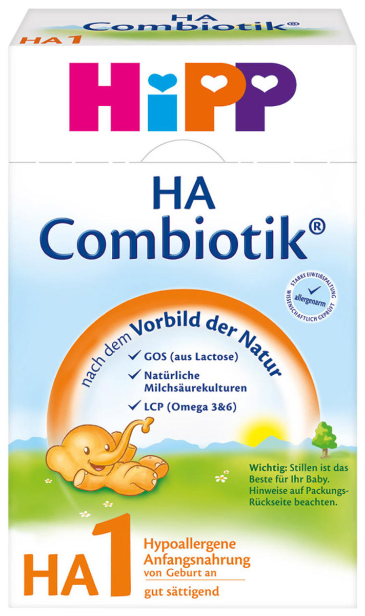 Hipp HA 1 Сombiotic смесь молочная, с рождения, 500 г4062300119666Заменитель Hipp HA 1 Сombiotic - детская сухая гипоаллергенная молочная смесь с пробиотиками и пребиотиками. Смесь предназначена для кормления младенцев, склонных к аллергии, с первых дней жизни. Смесь относится к новому поколению гипоаллергенного питания, которое учитывает все специфические потребности детей, предрасположенных к аллергии.Содержит глубоко расщепленный белок, благодаря чему максимально снижается риск возникновения аллергии. Обогащена пробиотиками (живыми лактобактериями), формирующими нормальную микрофлору кишечника и улучшающими пищеварение младенца. Содержит пребиотики, которые усиливают развитие пробиотиков и собственной микрофлоры кишечника.В состав включены незаменимые жирные кислоты Омега-3 и Омега-6, которые необходимы для развития зрения и мозга ребенка.Не содержит глютена, консервантов, красителей, ароматизаторов, ГМО.