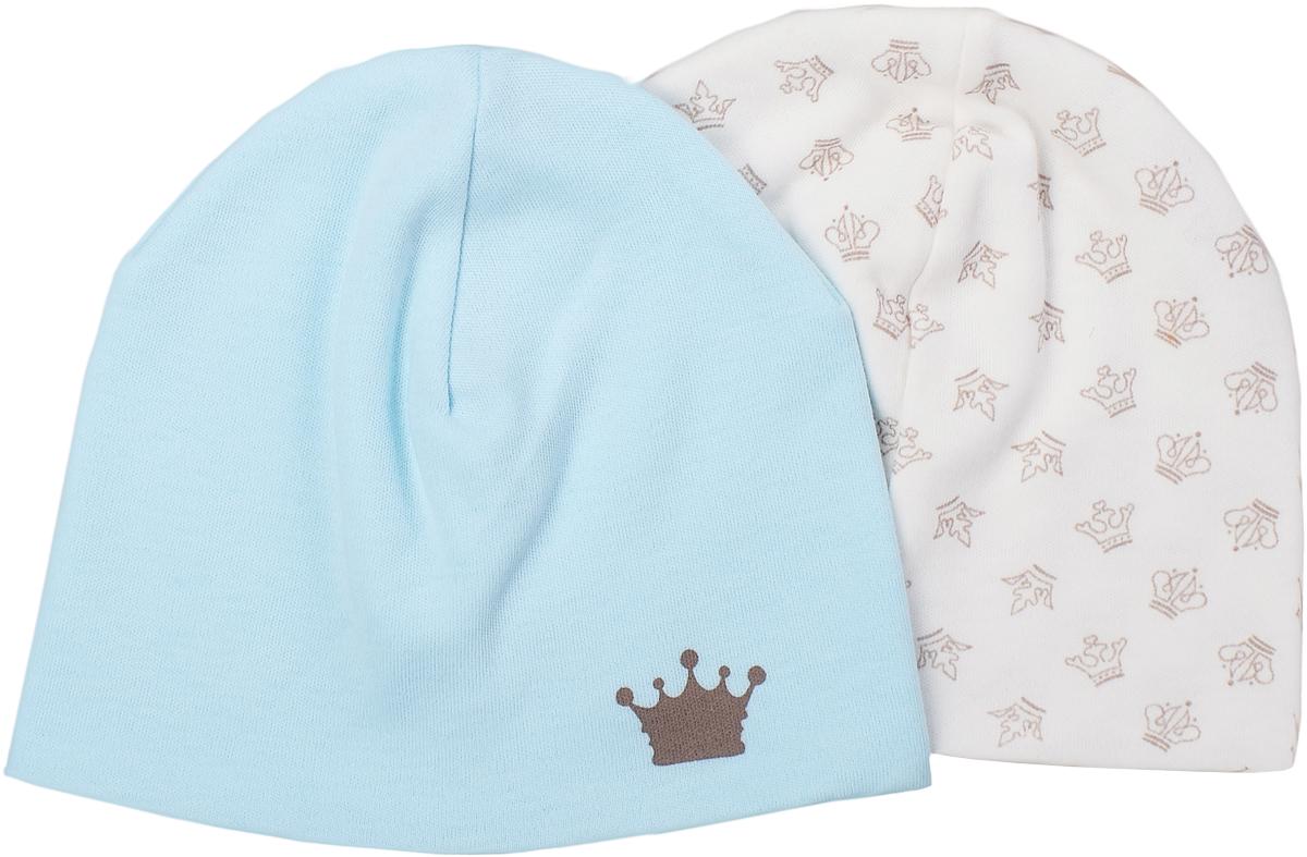 Шапочка для мальчика Мамуляндия Маленький принц, цвет: молочный, голубой, 2 шт. 17-3019. Размер 52, рост 8617-3019Шапочка для мальчика Мамуляндия Маленький принц выполнена из натурального хлопка. Шапочка необходима любому младенцу, она защищает еще не заросший родничок, щадит чувствительный слух малыша, прикрывая ушки, а также предохраняет от теплопотери. Комплект состоит из двух шапочек, оформленных гипоаллергенным принтом на водной основе.