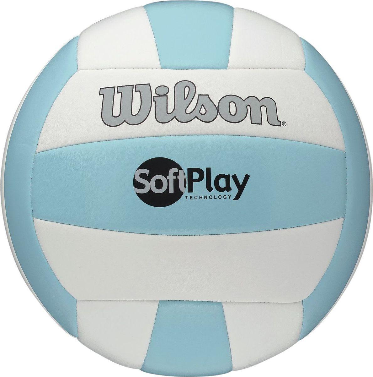 Мяч волейбольный Wilson Soft Play, цвет: голубой, белыйWTH3501XBLUWHIВолейбольный мяч Wilson Soft Play предназначен для игры на улице и в зале. Ультрамягкое синтетическое покрытие не причиняет боль при игре.