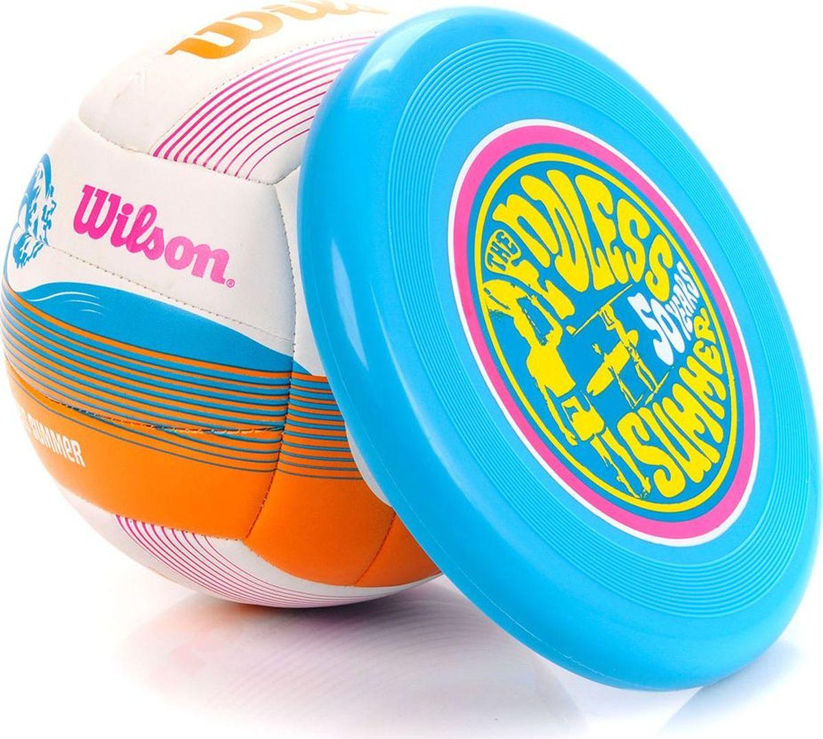 Набор волейбольный Wilson Endless Smmr, цвет: белыйWTX0522 KITНабор из мягкого волейбольного синтетического мяча, фрисби. Дизайн, вдохновленный фильмом о Серфинге Брюса Брауна, созданный к пятидесятилетию волейбола.