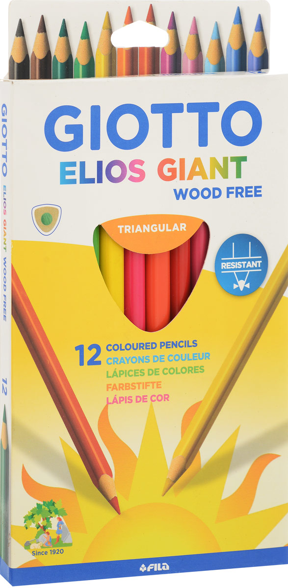 Giotto Набор цветных карандашей Elios Giant 12 шт giotto набор цветных карандашей stilnovo bicolor 18 шт