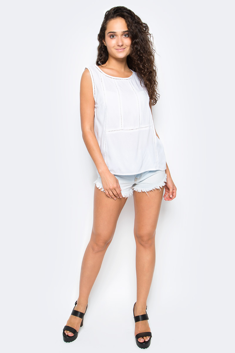 Блузка женская Top Secret, цвет: белый. SBW0346BI. Размер 34 (42)SBW0346BIЖенская блузка Top Secret выполнена из натуральной вискозы. Модель без рукавов и с круглым вырезом горловины.