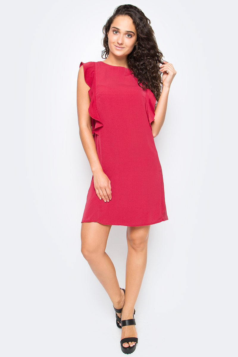 Платье Top Secret, цвет: малиновый. SSU1915CE. Размер 38 (46)SSU1915CEСтильное платье Top Secret выполнено из высококачественного материала. Модель мини длины с коротким рукавом-крылышком на спине застегивается на потайную застежку-молнию.