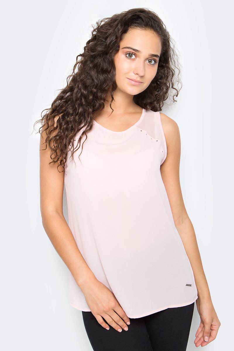 Блузка женская Top Secret, цвет: розовый. SBW0353JR. Размер 34 (42)SBW0353JRЖенская блузка Top Secret выполнена из высококачественного материала. Модель без рукавов и с круглым вырезом горловины на спине застегивается на пуговицу.