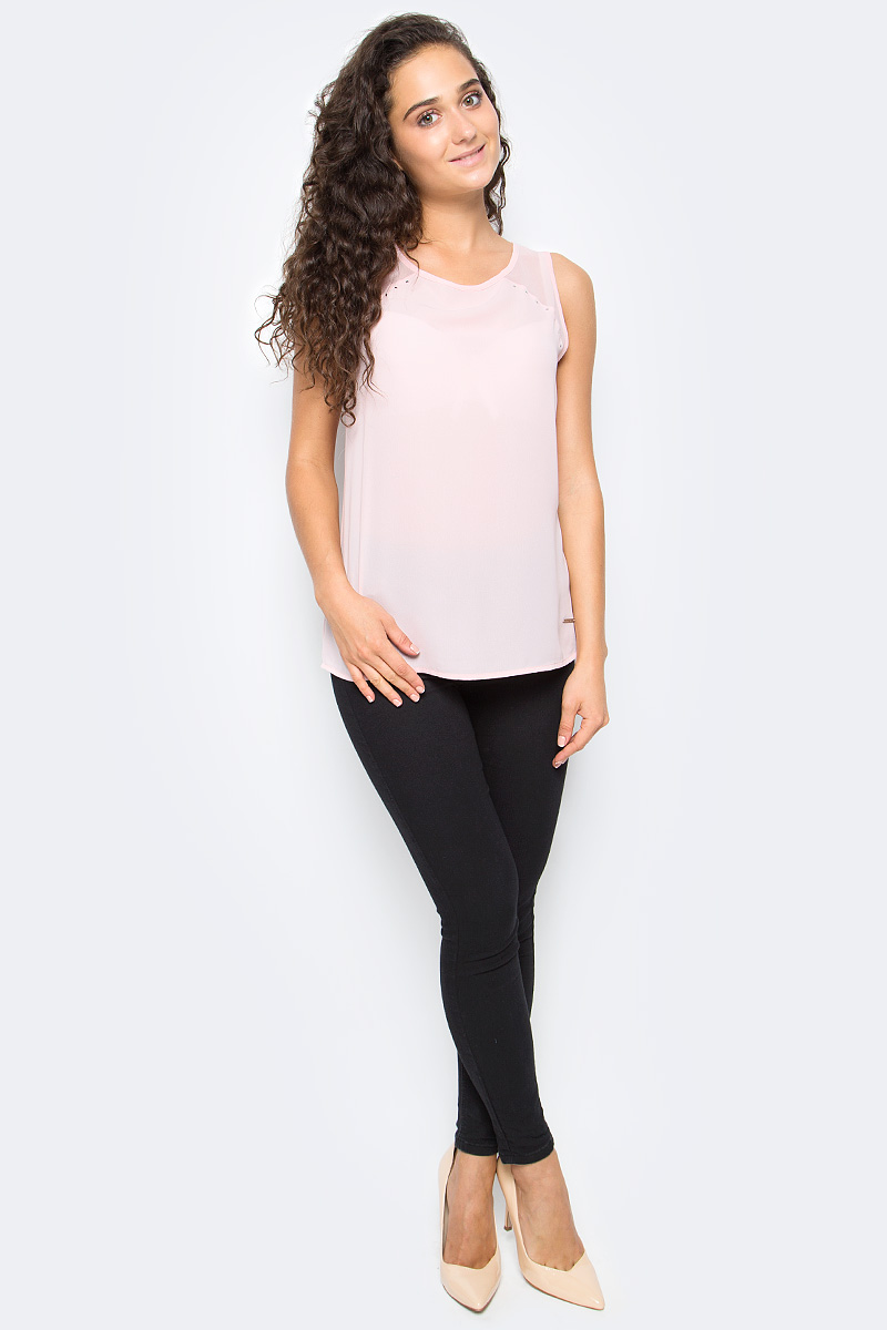 Блузка женская Top Secret, цвет: розовый. SBW0353JR. Размер 36 (44)SBW0353JRЖенская блузка Top Secret выполнена из высококачественного материала. Модель без рукавов и с круглым вырезом горловины на спине застегивается на пуговицу.